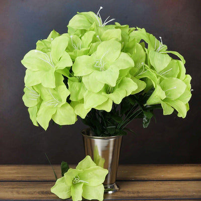 10 Bushes | 60 Pcs | Lime Green | Artificial Silk Eastern Lily Flowers