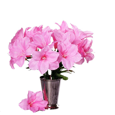 10 Bushes | 60 Pcs | Pink | Artificial Silk Easter Lily Flowers