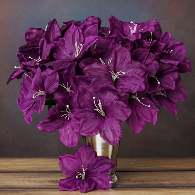 60 Artificial Eastern Lily Wedding Flower Vase Centerpiece Decor - Purple