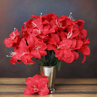 60 Artificial Eastern Lily Wedding Flower Vase Centerpiece Decor - Red