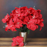10 Bushes | 60 Pcs | Red | Artificial Eastern Silk Lilies Wholesale Flowers