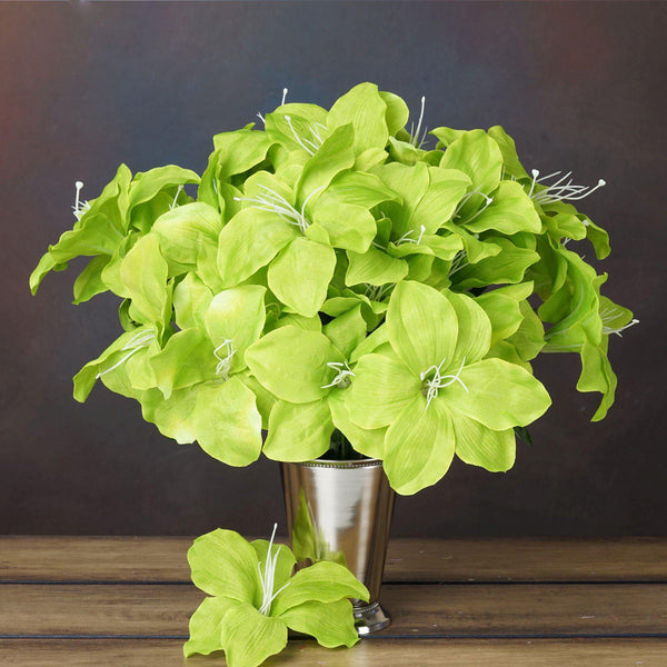 10 Bushes | 60 Pcs | Sage Green | Artificial Easter Silk Lilies Wholesale Flowers
