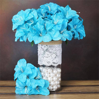 60 Artificial Eastern Lily Wedding Flower Vase Centerpiece Decor - Turquoise