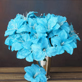 10 Bush 60 Pcs Turquoise Artificial Silk Eastern Lily Flowers