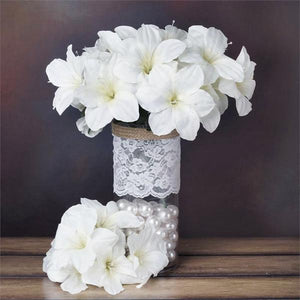 10 Bush 60 Pcs White Artificial Silk Eastern Lily Wedding Flowers Vase Centerpiece Decoration