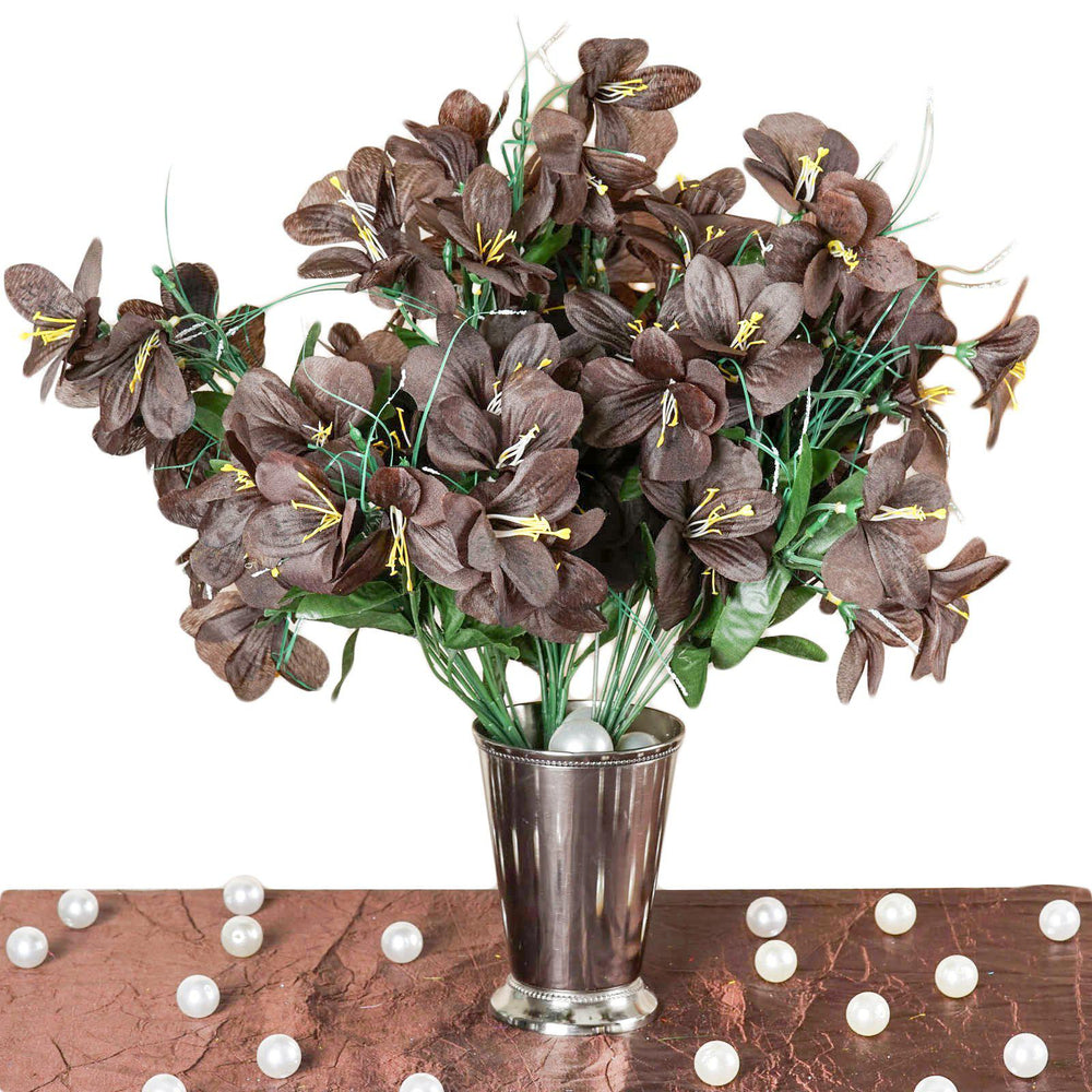 6 Bush 144 Pcs Chocolate Amaryllis Artificial Silk Flowers Wedding