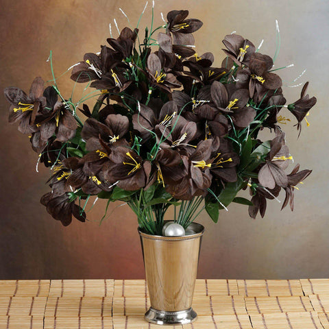 144 chocolate artificial silk amaryllis flowers wedding vase 144 wholesale artificial silk amaryllis flowers wedding vase centerpiece decor chocolate mightylinksfo