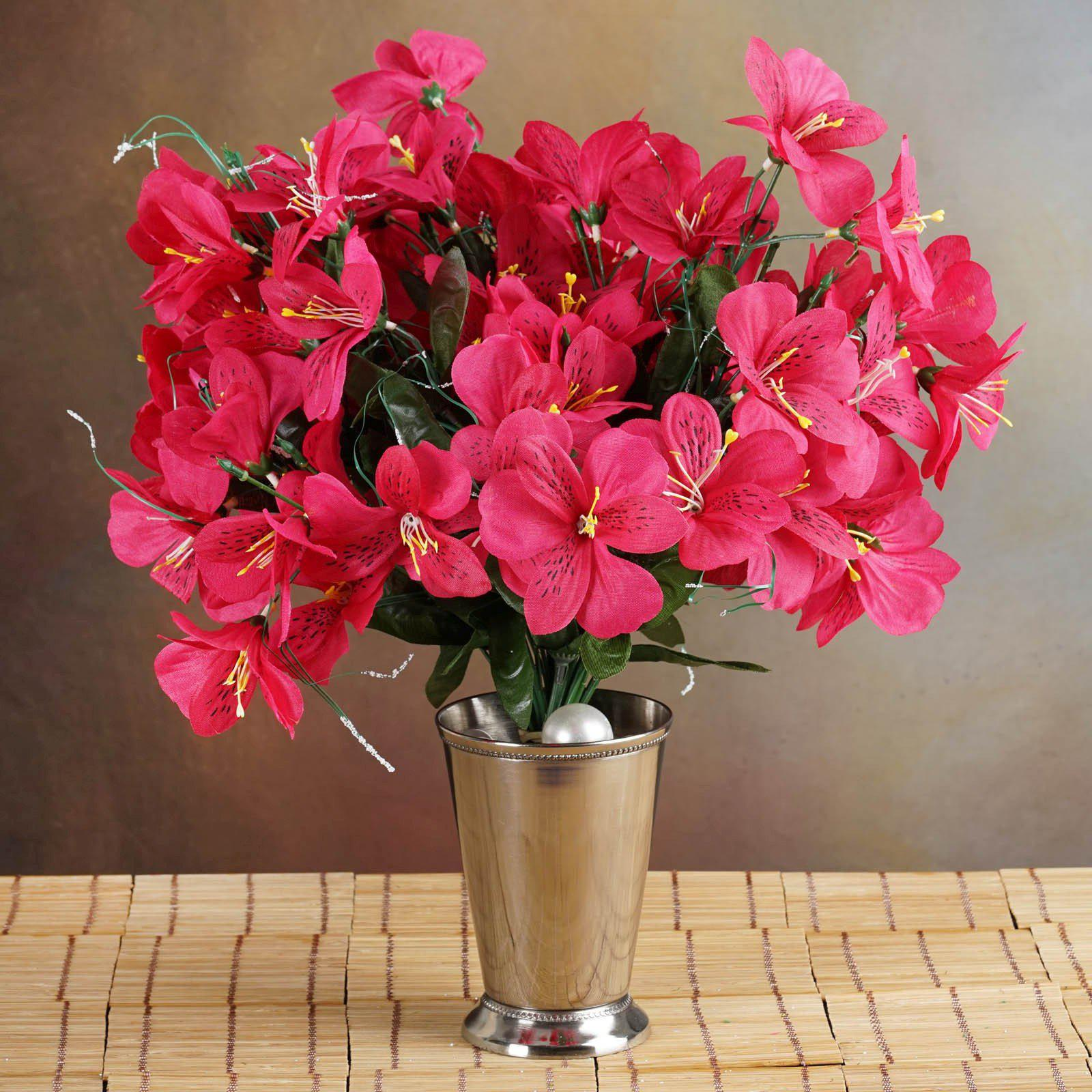 6 Bush 144 Pcs Fushia Amaryllis Artificial Silk Flowers Wedding