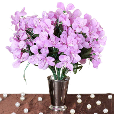 6 Bush 144 Pcs Lavender Amaryllis Artificial Silk Flowers