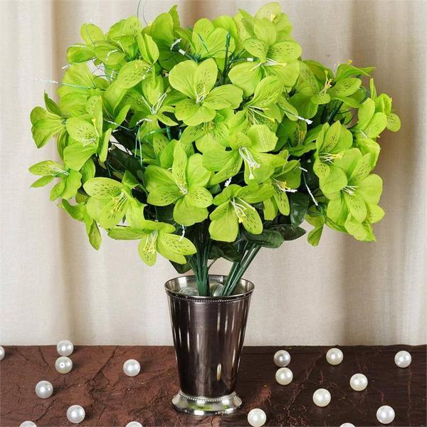 6 Bush 144 Pcs Lime Green Amaryllis Artificial Silk Flowers - Clearance SALE