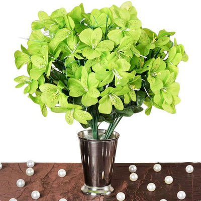 6 Bush 144 Pcs Lime Green Amaryllis Artificial Silk Flowers