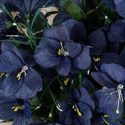 144 Wholesale Artificial Silk Amaryllis Flowers Wedding Vase Centerpiece Decor - Navy