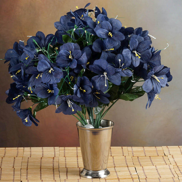6 Bush 144 Pcs Navy Amaryllis Artificial Silk Flowers - Clearance SALE