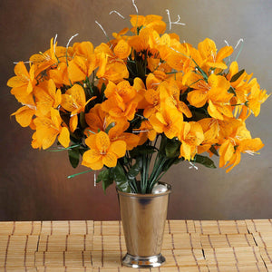 144 Wholesale Artificial Silk Amaryllis Flowers Wedding Vase Centerpiece Decor - Orange