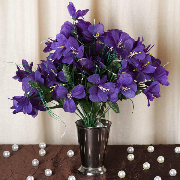 6 Bush 144 Pcs Purple Amaryllis Artificial Silk Flowers - Clearance SALE
