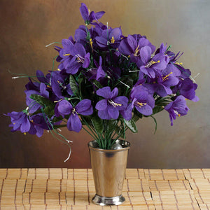 144 Wholesale Artificial Silk Amaryllis Flowers Wedding Vase Centerpiece Decor - Purple