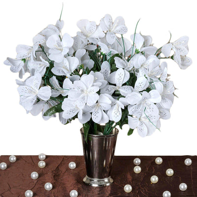 6 Bush 144 Pcs White Amaryllis Artificial Silk Flowers