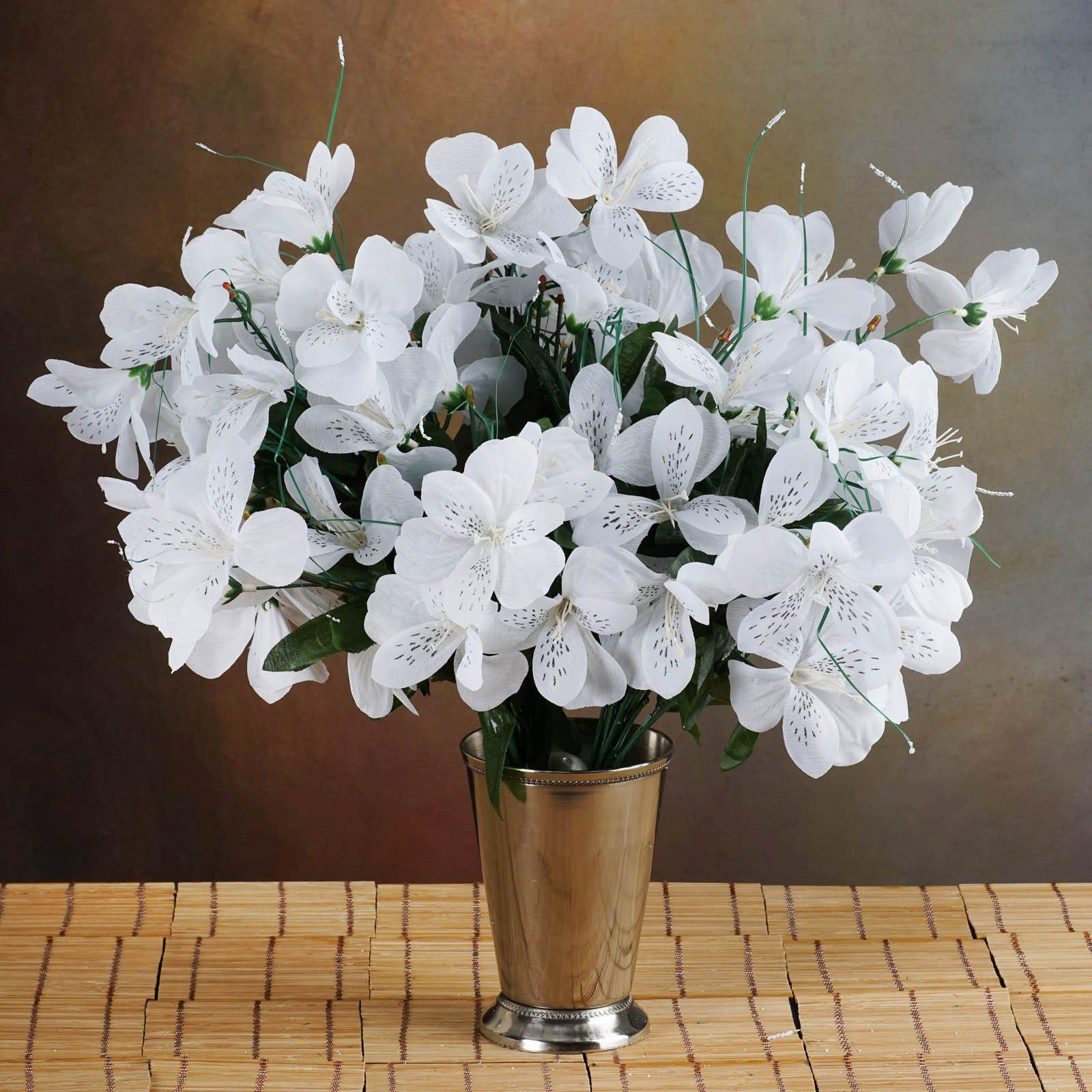 6 Bush 144 Pcs White Amaryllis Artificial Silk Flowers Wedding