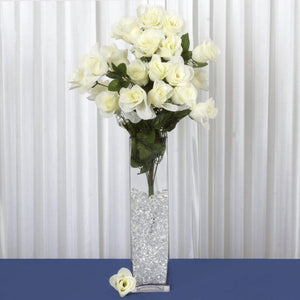 96 Wholesale Artificial Giant Rose Bud Wedding Bouquet Vase Centerpiece Decor - Cream