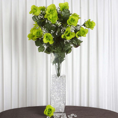 4 Bush 96 pcs Lime Green Artificial Large Rose Bud Flower Bridal Bouquet Wedding Decoration