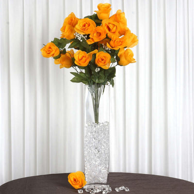 4 Bush 96 pcs Orange Artificial Large Rose Bud Flowers