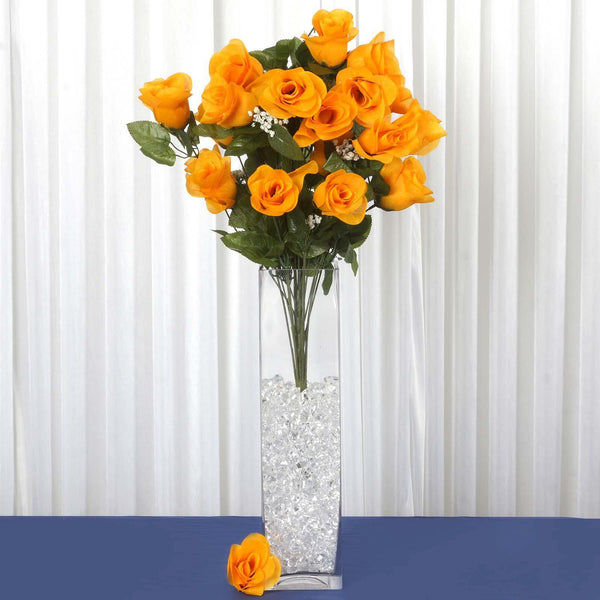 "4 Bushes | 96 Pcs | 25"" Orange Large Rose Buds Real Touch Artificial Silk Flowers"