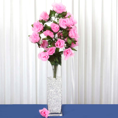 4 Bushes | 96 Pcs | Pink | Large Rose Buds Real Touch Artificial Silk Flowers