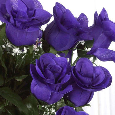 96 Wholesale Artificial Giant Rose Bud Wedding Bouquet Vase Centerpiece Decor - Purple