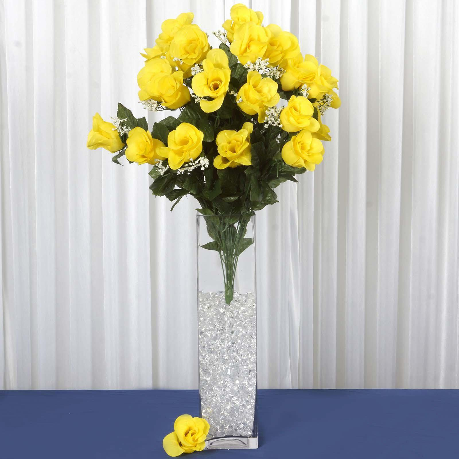 4 Bush 96 pcs Yellow Artificial Large Rose Bud Flower Bridal Bouquet ...