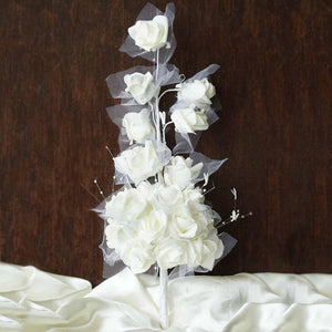 24 Handcrafted Silk Open Roses Bridal Bouquet Wedding Vase Centerpiece Décor - Cream
