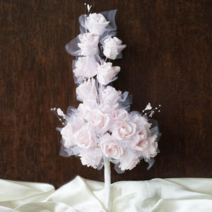 24 Handcrafted Silk Open Roses Bridal Bouquet Wedding Vase Centerpiece Décor - Pink
