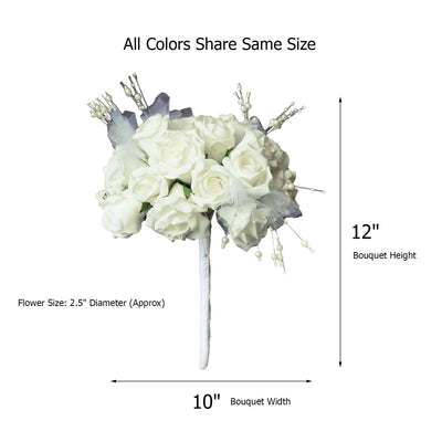 1 Pack 18 Pcs Cream Artificial Silk Handcrafted Open Rose Flowers
