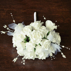 9 Handcrafted Open Roses Bridal Bouquet Wedding Vase Centerpiece Decor- Cream