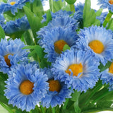 12 Bush 108 pcs Blue Artificial Silk Daisy Flowers