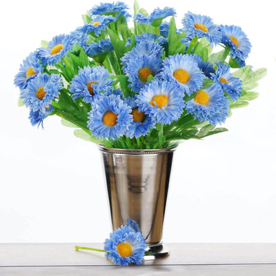108 Wholesale Artificial Silk Daisy Flowers Wedding Vase Centerpiece Decor - Blue