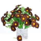 12 Bush 108 pcs Chocolate Artificial Silk Daisy Flowers