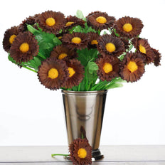 12 Bush 108 pcs Wholesale Chocolate Artificial Silk Daisy Flowers
