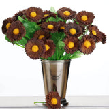 108 Wholesale Artificial Silk Daisy Flowers Wedding Vase Centerpiece Decor - Chocolate