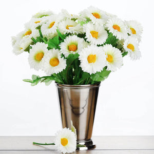 108 Wholesale Artificial Silk Daisy Flowers Wedding Vase Centerpiece Decor - Cream