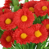 12 Bush 108 pcs Red Artificial Silk Daisy Flowers