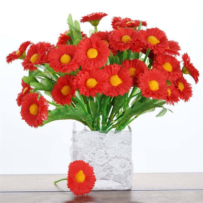 108 Wholesale Artificial Silk Daisy Flowers Wedding Vase Centerpiece Decor - Red