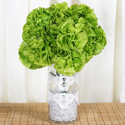 4 Bush 36 Pcs Lime Green Artificial Giant Silk Carnation Flowers