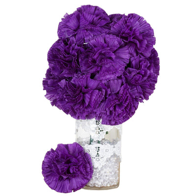 4 Bush 36 Pcs Purple Artificial Giant Silk Carnation Flowers