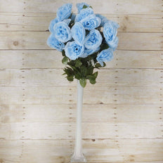 96 Artificial Giant Silk Open Roses Wedding Flower Vase Centerpiece Decor - Light Blue