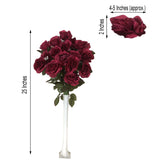 4 Bush 96 Pcs Burgundy Artificial Giant Silk Open Rose Flowers - Clearance SALE
