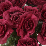 96 GIANT Silk Open Rose - Burgundy