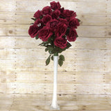 96 Artificial Giant Silk Open Roses Wedding Flower Vase Centerpiece Decor - Burgundy