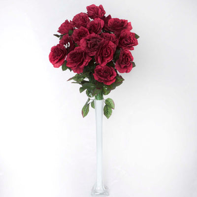 4 Bush 96 Pcs Burgundy Artificial Giant Silk Open Rose Flowers