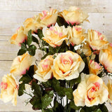96 Artificial Giant Silk Open Roses Wedding Flower Vase Centerpiece Decor - Crayon