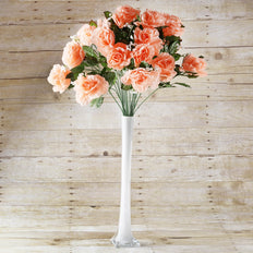 4 Bush 96 Pcs Peach Artificial Giant Silk Open Rose Flowers - Clearance SALE